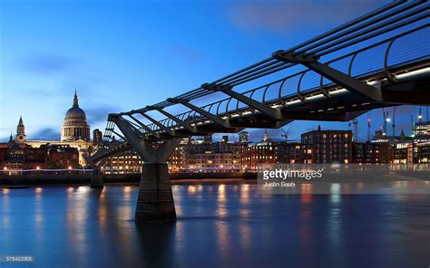 thames river in london england millennium bridge river thames london england stock photo