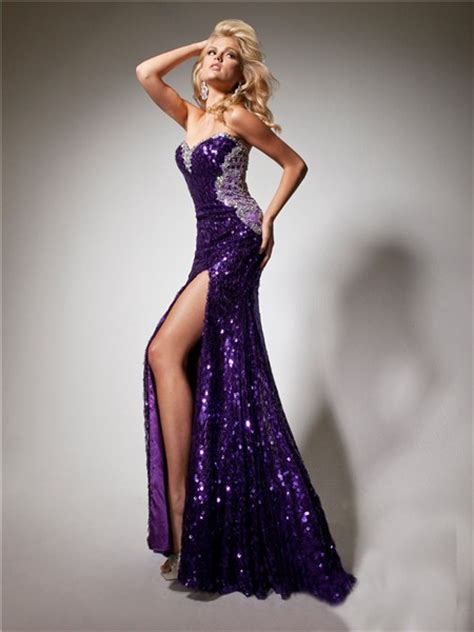 Longdress Set 2in1 Glitter Pink sweetheart purple sequined beaded sparkle prom dress with backless slit