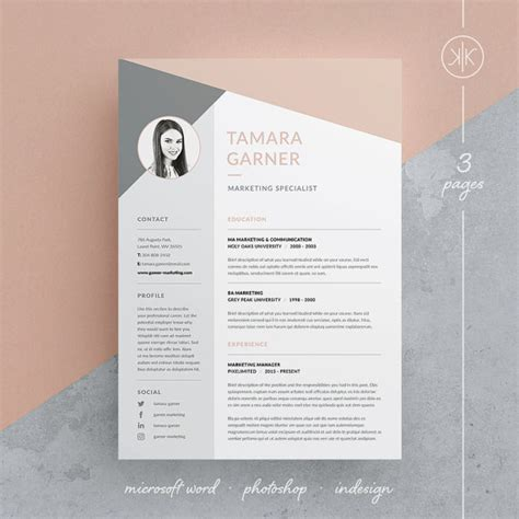 Material Design Vorlage Tamara Resume Cv Template Word Photoshop Indesign