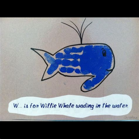 whale crafts for w is for handprint whale wading in the water leave