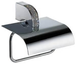 Modern Toilet Paper Holder Carmen Toilet Paper Holder With Lid Swarovski Crystal