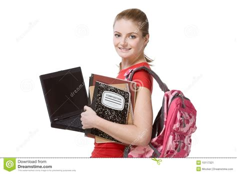 dreamstime high school girls college female student girl with laptop backpack stock