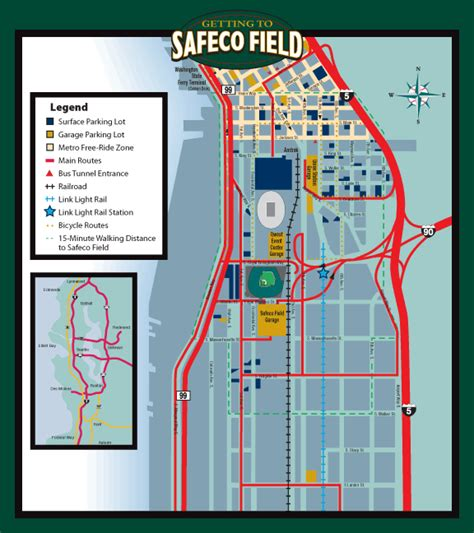 seattle map safeco field transportation area maps mariners ballpark