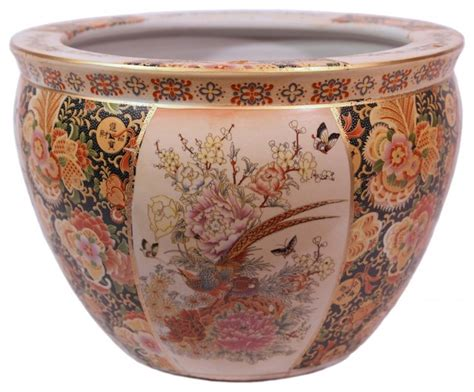 chinese porcelain fish bowl planter glazed satsuma pheasant design asian indoor pots