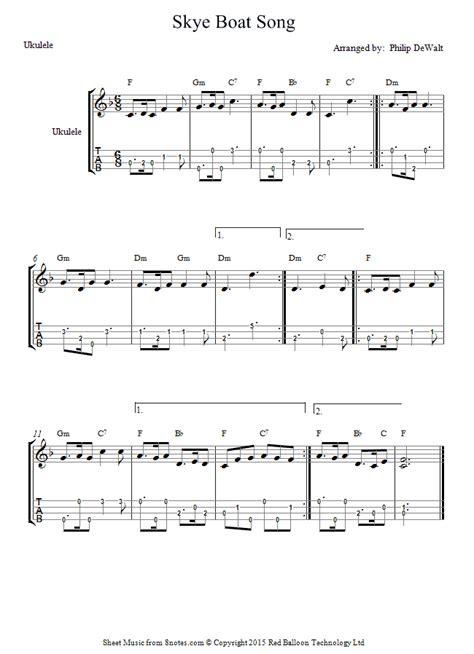 skye boat song music notes skye boat song sheet music for ukulele 8notes