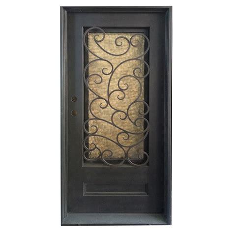 Exterior Wrought Iron Doors Grafton Exterior Wrought Iron Glass Doors Fern Collection Black Right Inswing 82 Quot X38 Quot Flat Top