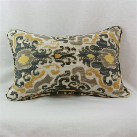 Grey And Gold Decorative Pillows Gold And Grey Ikat Decorative Throw Pillow Cover With