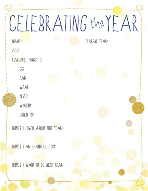 new year activities free 10 new year s resolution printables