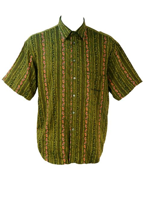 gold pattern shirt olive green short sleeve shirt with black pink gold
