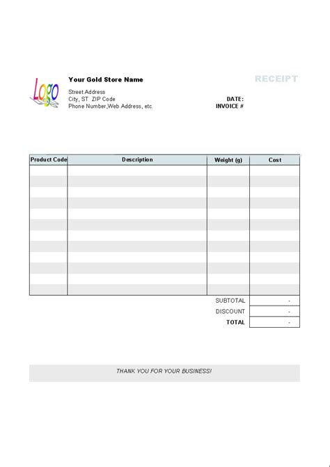 gold shop receipt template uniform invoice software