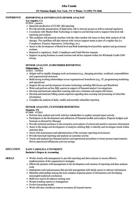 reporting analyst senior resume sles velvet