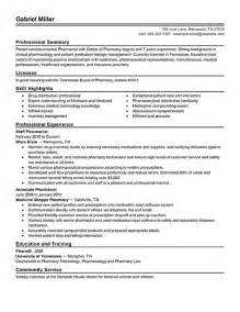 Pharmacists Resume by Pharmacist Sle Resume Best Resume Exle