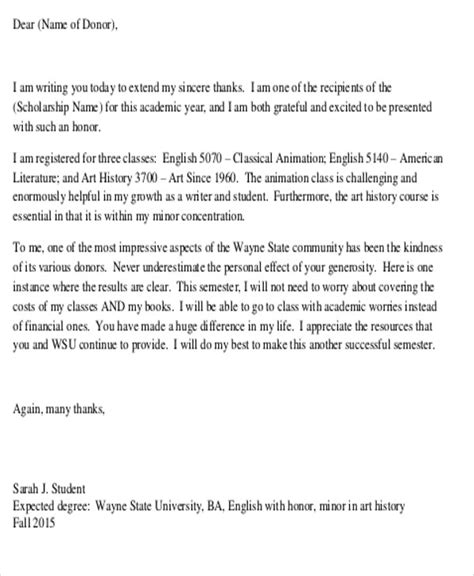 Thank You Letter For Scholarship Recipient Sle Thank You Letter For Scholarship Award 5 Exles In Word Pdf