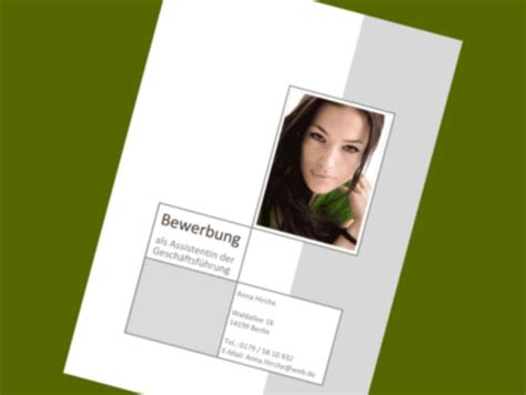 Bewerbung Mappen Design Deckblattvorlage Bewerbung