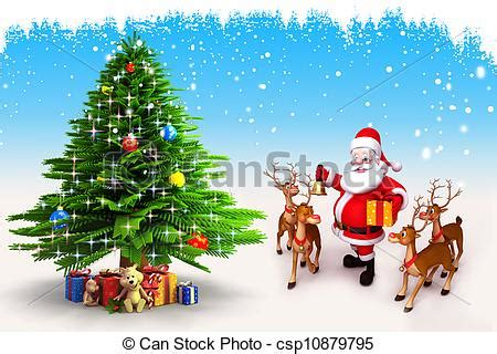 pictures of crismas tree and centaclaus 3d illustration of santa claus with tree