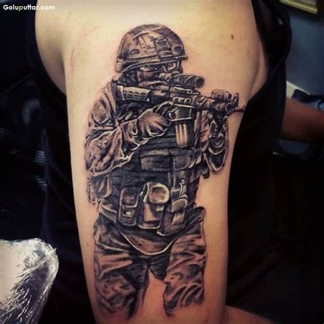 military tattoo ideas for men sleeve decorated with army sniper