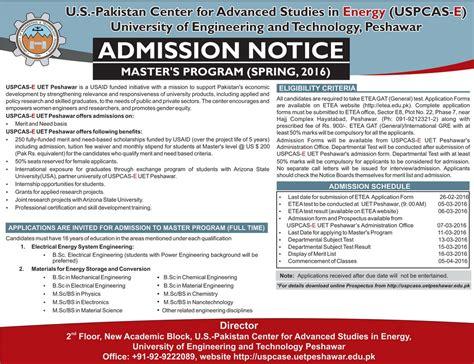 Peshawar Mba Admission 2017 by Uet Peshawar Admission Notice Master Program 2016