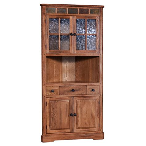 rustic corner china cabinet sunny designs sedona corner china cabinet in rustic oak