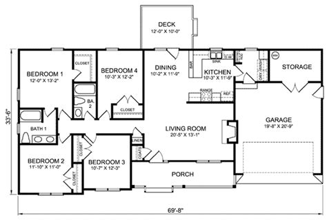 4 Bedroom Ranch House Plans Plan W26331sd Ranch