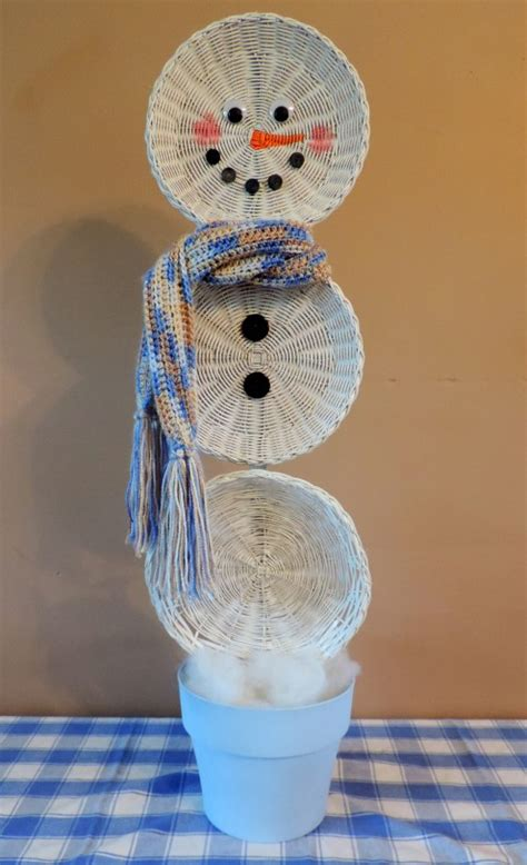 hometalk easy christmas crafts  upcycled basket snowman