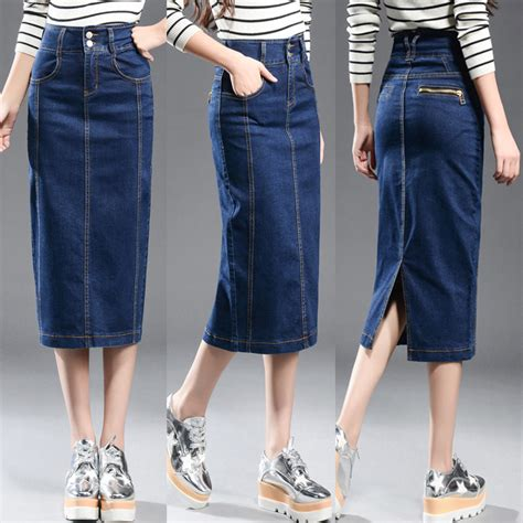 new 2017 denim skirt plus size casual high waist