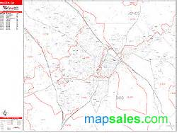 macon zip code wall map line style by marketmaps