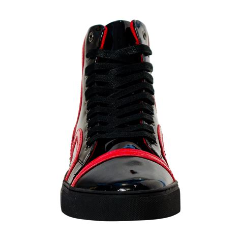 bogart black  red design patent leather high top