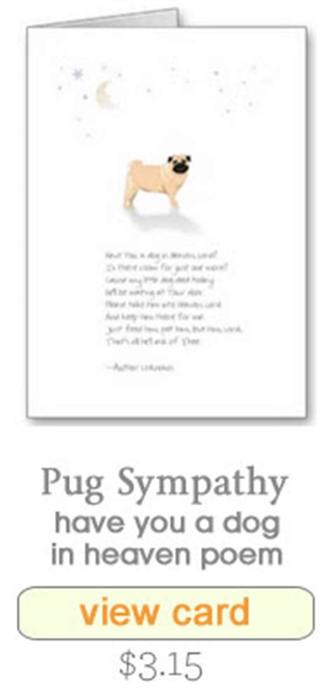 loss of a pug poem sympathy cards