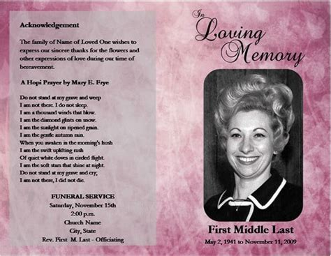 funeral obituary template loved one