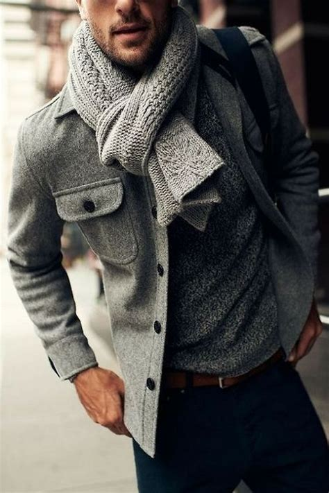 Wood Sleeve Brown Narrow picture of a grey sweater a warm grey scarf