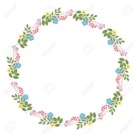 flower pattern in circle circle flower wreath clipart