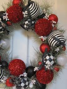 White christmas tree with red and black decorations black and white