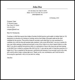 Assistant Football Coach Cover Letter by Cover Letter Coaching Football