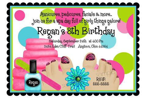 spa birthday party invitations spa party spa