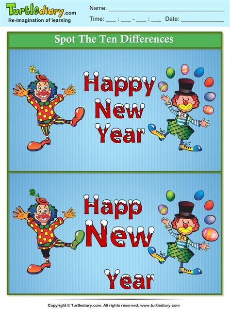why is new year different to uk spot the differences happy new year clown worksheet