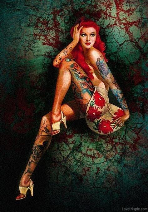 hot tattoo artists pinup illustration woman with tattoos tattoos vintage art
