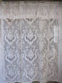 Shower Curtain 84 Inches Long Shower Curtain Off White Lace Shower Curtain With Attached