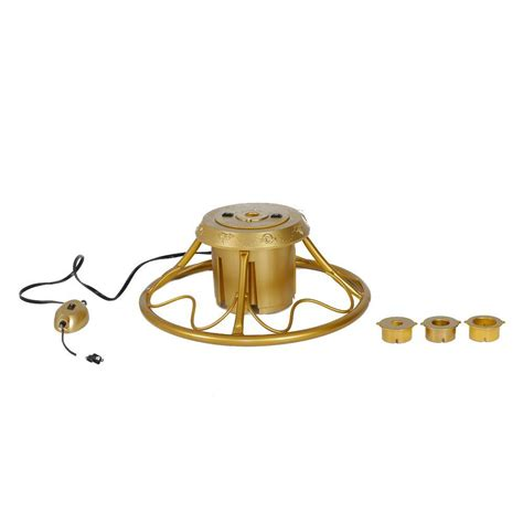 gold metal rotating tree stand for artificial trees up to