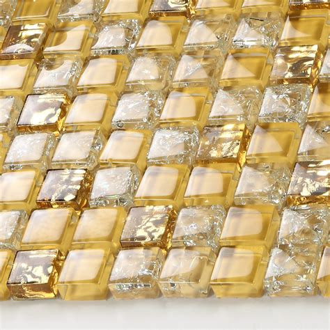 glass tile backsplash border bathroom gold glass