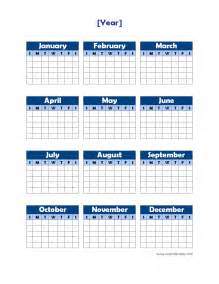 Blank Yearly Calendar Template by Yearly Blank Calendar Potrait Free Printable Templates