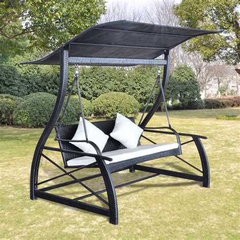 outdoor hanging swings outdoor hanging swing chair with roof black rattan www