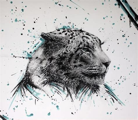 watercolor tattoo jaguar grey jaguar with turquoise shadows surrounded with