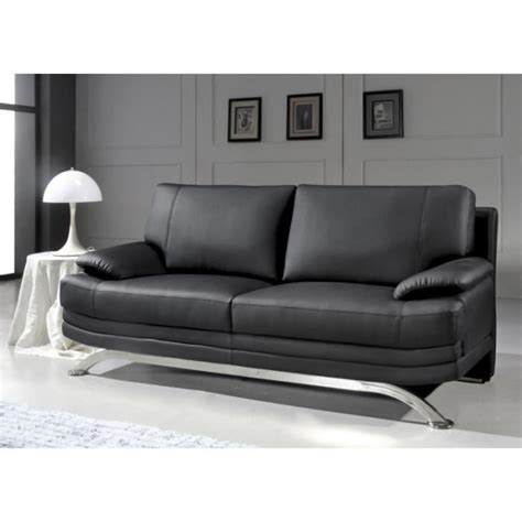 pied de canape canap 233 3 places en cuir noir design pied chrom 233 achat