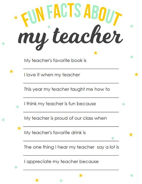 printable relationship questionnaire teacher appreciation printable fun facts about my teacher