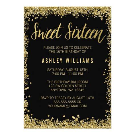 Sweet 16 Black Gold Glitter Birthday Card Zazzle Com Gold Birthday Invitation Template