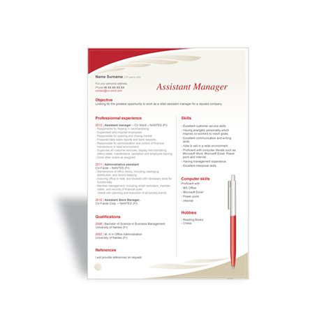 assistant manager cv template word curriculum vitae cv resume templates