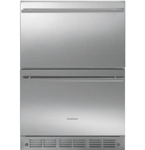 monogram double drawer refrigerator ge monogram 24 quot stainless double drawer under counter