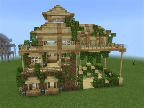 simple leafy minecraft house good  survival