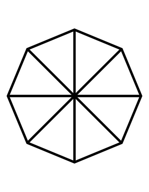 fractions of 8 sided polygon clipart etc