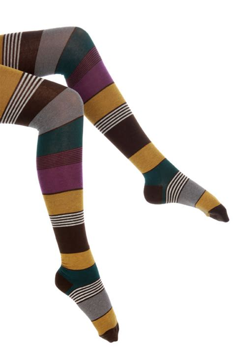 Stripe Tights striped tights brown tights thick tights 29 00